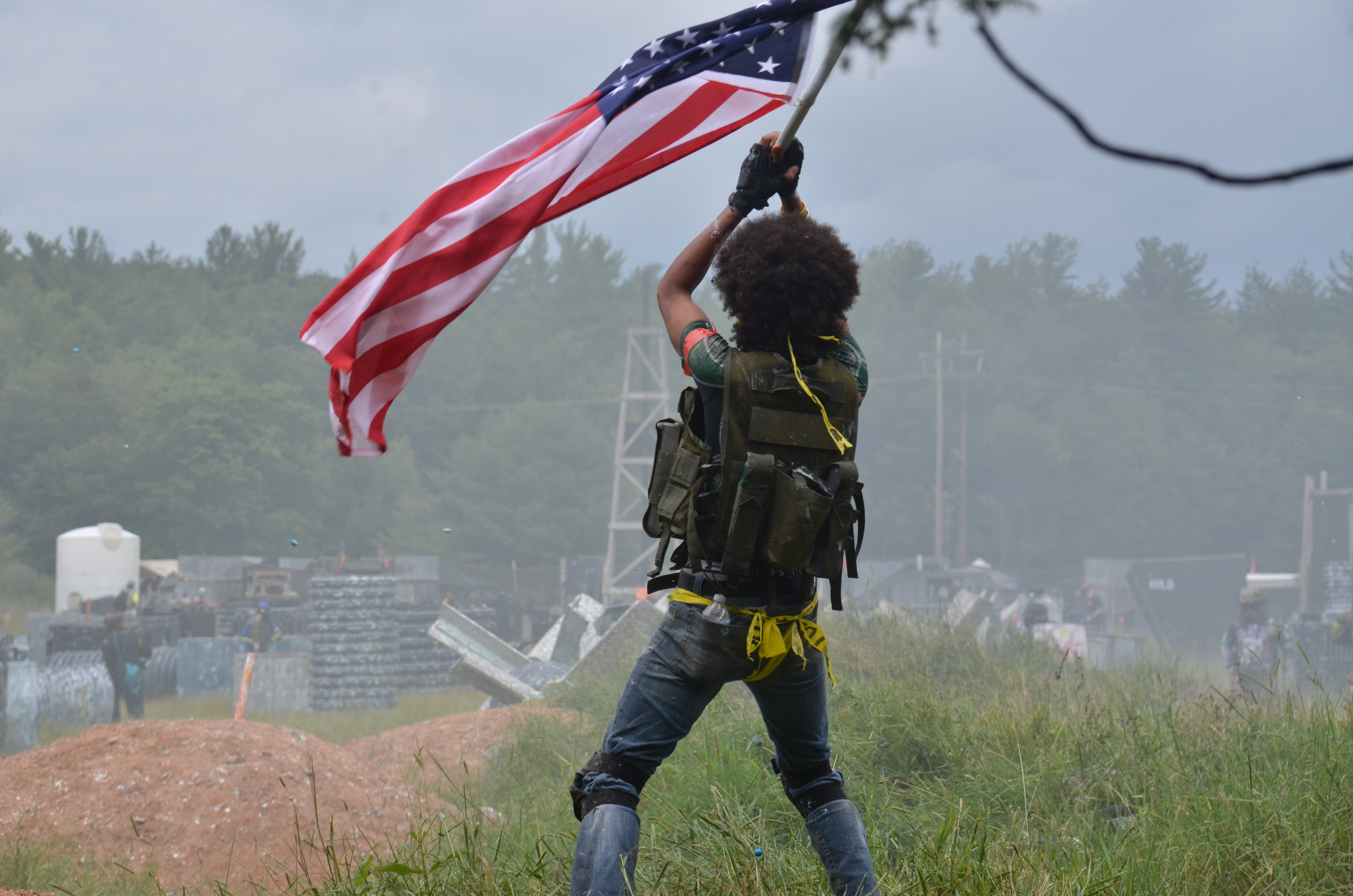 American Flag Holder for the Allied Army at the Invasion of Normandy Scenario Game at Skirmish Paintball