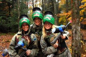 Group of Ladies playing paintball at Skirmish Paintball in Jim Thorpe, PA